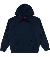 supreme rhinestone script hoodie - blue