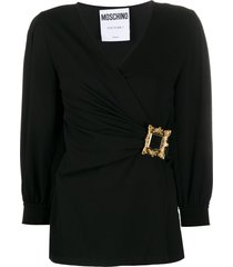 moschino frame-buckle long-sleeve blouse - black