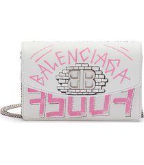 'bb' graffiti print leather wallet on chain