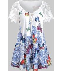 butterfly print raglan sleeve keyhole lace insert t-shirt