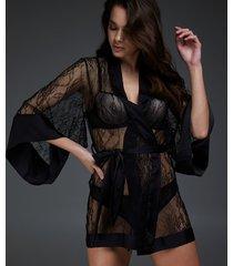 hunkemöller kimono allover lace svart