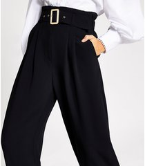 river island womens black buckle belted wide leg trousers
