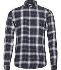 checked brushed shirt l/s skjorta casual blå lindbergh