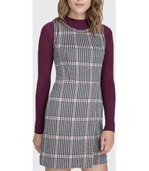 vestido ash punto roma escocés rosa - calce regular