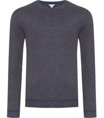 blusa masculina tricot c decote redondo - cinza