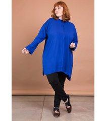 camisã£o viscolinho plus size azul - azul - feminino - dafiti