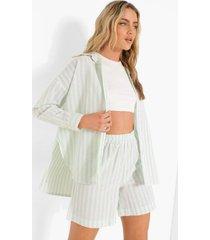 oversized pastel gestreepte linnen look blouse, mint