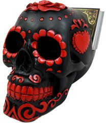 atlantic collectibles day of the dead sugar skull business card holder figurine