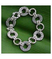 sterling silver link bracelet, 'unity embrace' (7.25 inch) (indonesia)
