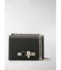 alexander mcqueen black small jewelled satchel