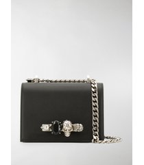 alexander mcqueen black small jewelled satchel