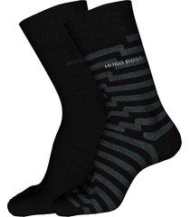 men's boss 2-pack assorted crew socks, size one size - black
