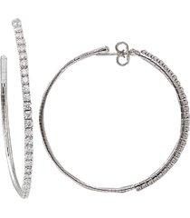 4cm white gold rugiada diamond tennis hoop earrings
