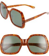 women's gucci 58mm irregular square sunglasses - havana/ green solid