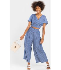 women's velicity striped chambray pants in blue by francesca's - size: 3x