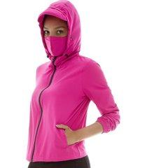 chaqueta antifluido mujer fucsia color rosado, talla l