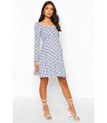 maternity rouched sleeve polka dot skater dress, blue