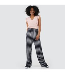 pantalón para mujer fluido a rayas