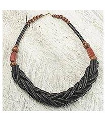 braided bead necklace, 'sosongo in black' (ghana)