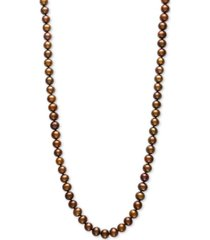 """dyed chocolate cultured freshwater pearl (7mm) 24"""" statement necklace"""