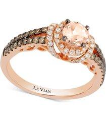 le vian chocolatier peach morganite (1/3 ct. t.w.) & diamond (1/2 ct. t.w.) ring in 14k rose gold