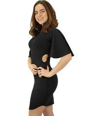 vestido racy modas tubinho com detalhe na cintura e manga flare curta preto