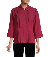crystal button pleat front blouse