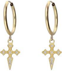 orecchini a cerchio in oro giallo e strass con croce per donna