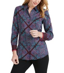 women's foxcroft addison diamond paisley shirt, size 18 - blue
