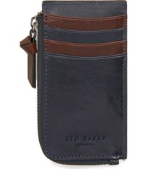 men's ted baker london bombay leather zip card holder - blue