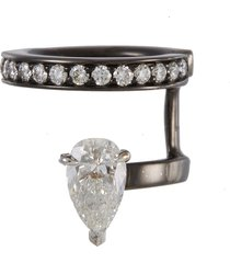 'serti sur vide' diamond 18k black gold ear cuff