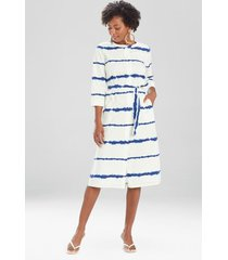 natori shima light poplin tie belt dress, women's, cotton, size l natori
