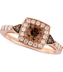 le vian chocolatier chocolate diamond and white diamond ring in 14k rose gold (7/8 ct. t.w.)