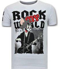 t-shirt korte mouw local fanatic stoere rock my world cat