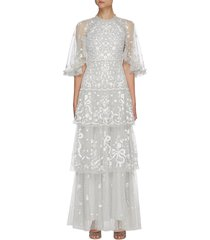'bonnie bow' floral embroidered cape sleeve tier gown