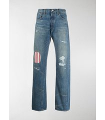 junya watanabe man x levi's mid rise striped panel jeans