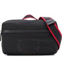 boss round logo shoulder bag - black