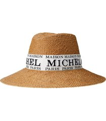 maison michel kate logo-embroidered sun hat - neutrals