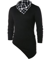 asymmetric checked pattern pile heap collar t-shirt
