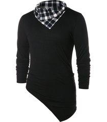 asymmetric checked pattern pile heap collar t-shirt