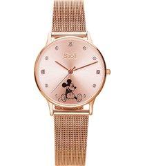 orologio solo tempo con cinturino maglia milanese e cassa in acciaio rosato, quadrante con topolino e strass per donna