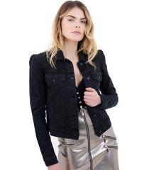 jaqueta rosa chá mirtes i jeans preto feminina (preto, 50)