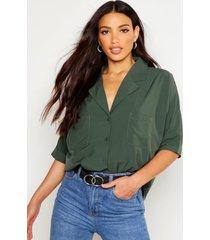 oversized blouse met revers kraag, kaki