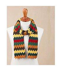 alpaca blend scarf, 'warm zigzags' (peru)