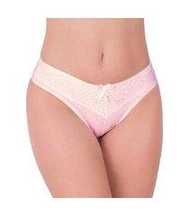 calcinha em cotton vip lingerie renda sobreposta rosa