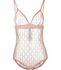 gucci gg crystal-embellished bodysuit - pink