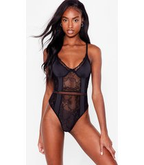 womens watch this lace cupped high-leg bodysuit - black
