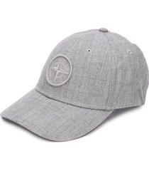 stone island logo-patch cap - grey