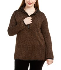 belldini plus size metallic-knit hoodie sweater