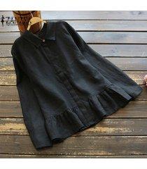 zanzea mujeres botón casual camisa primer golpe oficina peplum ol suelta manga larga blusa -negro